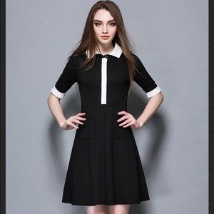 Black women's white collar short sleeves dress